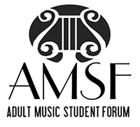 AMSF Logo image of a stylized stringed instrument